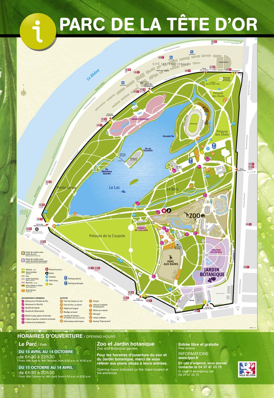 Plan Du Parc De La Tete D Or Jardin Botanique De Lyon